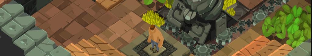 Image du jeu d'énigme indépendant M.PAF illustrant le personnage face à une statue dans un temple