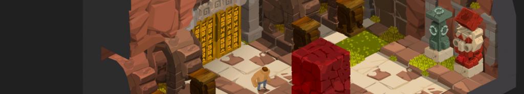 Image du jeu d'énigme indépendant M.PAF illustrant le personnage M PAF à côté d'un bloc