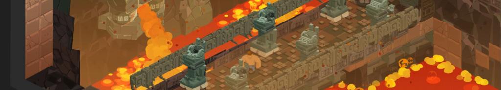 Image du jeu d'énigme indépendant M.PAF illustrant le personnage M PAF sur un pont au-dessus d'une coulée de lave