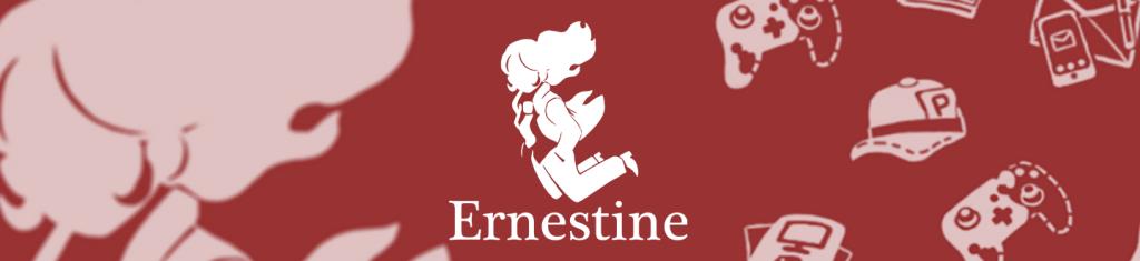 Illustration avec le logo et les couleurs du studio Ernestine